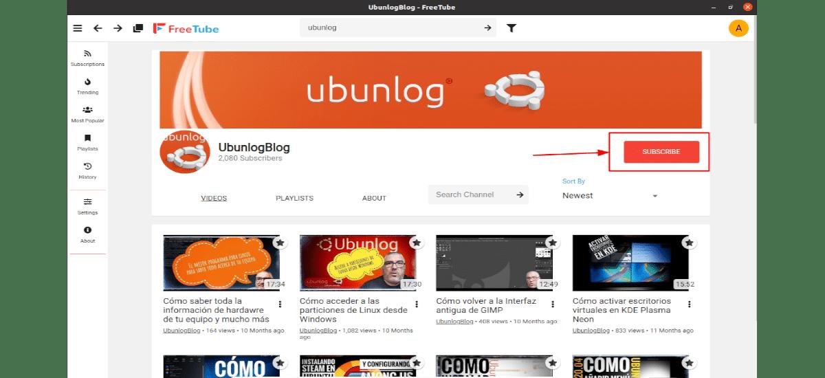 suscripción a un canal del youtube