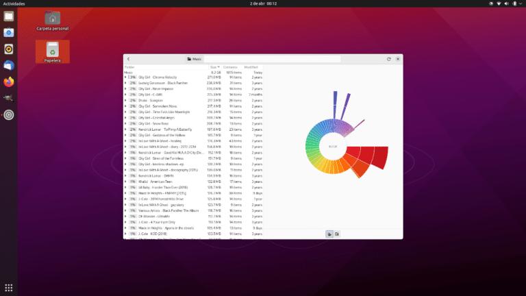 Analizador del uso de discos de GNOME