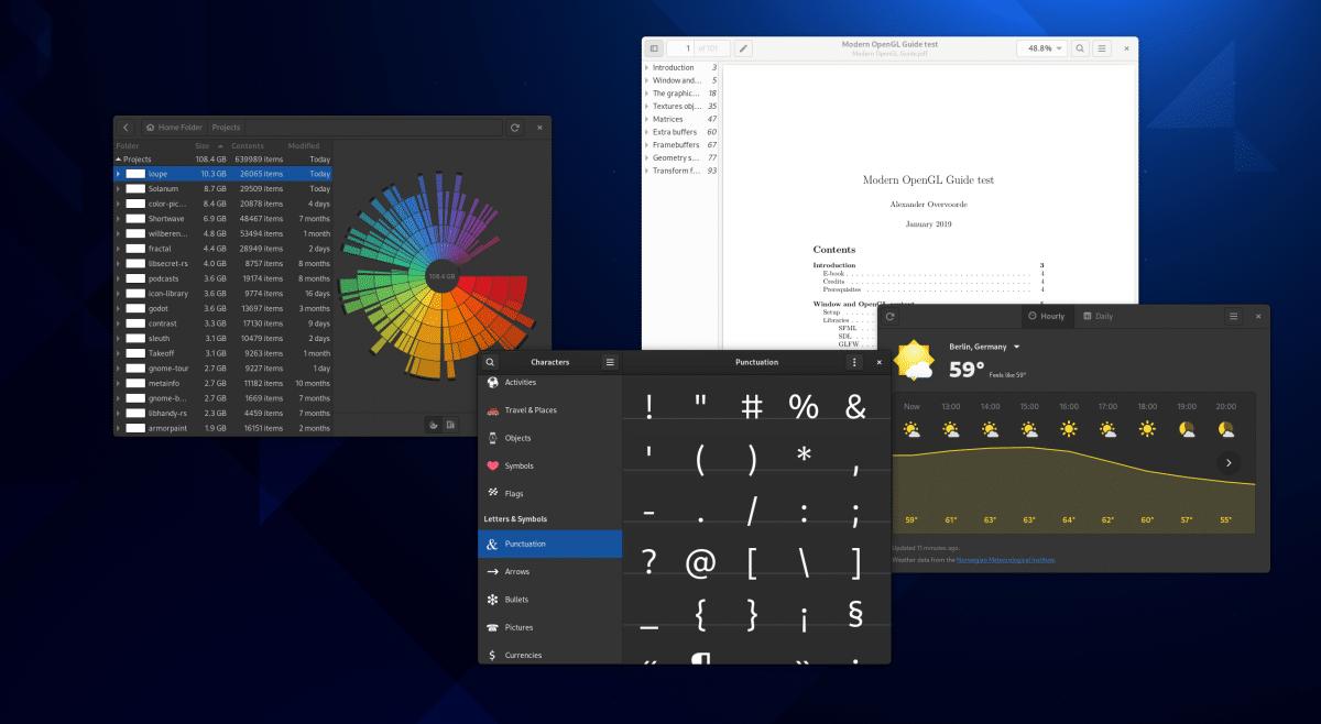 Apps de GNOME con modo oscuro